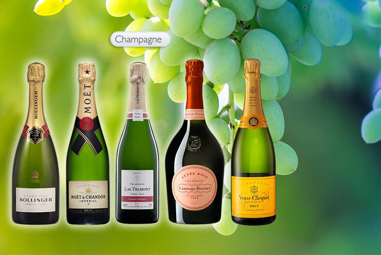 From £19.99 for a mystery six bottle wine case deal - Moët, Laurent Perrier Rose Champagne, Bollinger, Veuve Clicquot Yellow Label and more!