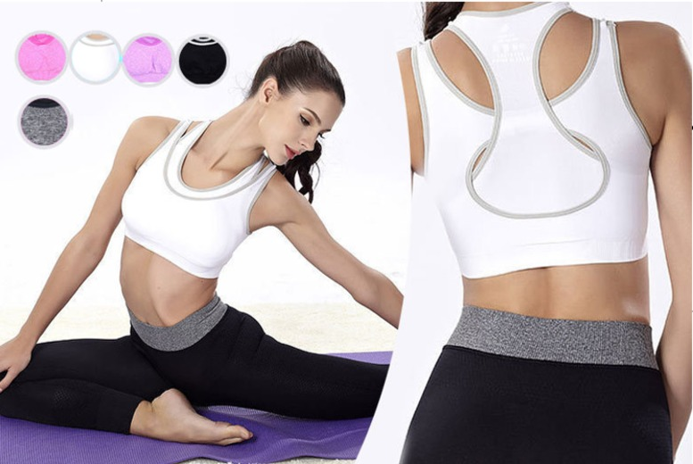 Layered Racerback Padded Sports Bra – 5 Colours & Sizes 8-16! for £6.99