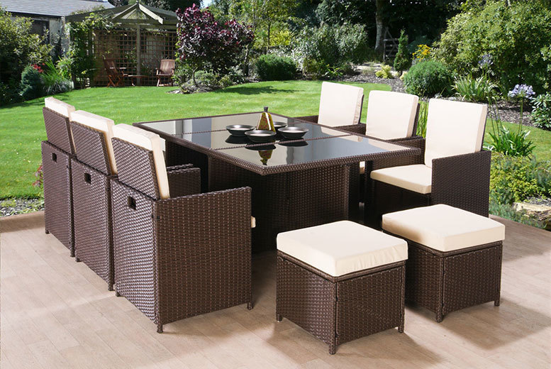 11pc Rattan Cube Dining Set – 2 Colours! for £449.00
