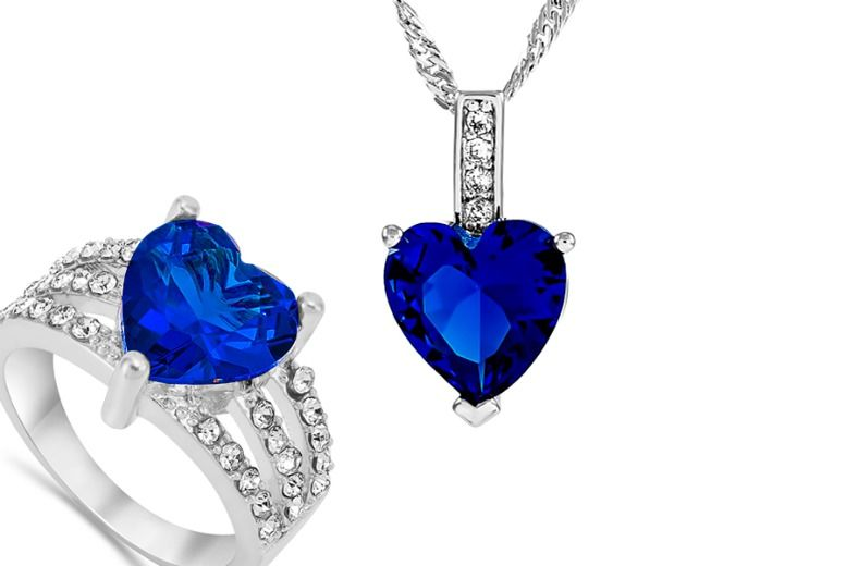 Blue Simulated Sapphire Ring & Pendant Set for £18.99