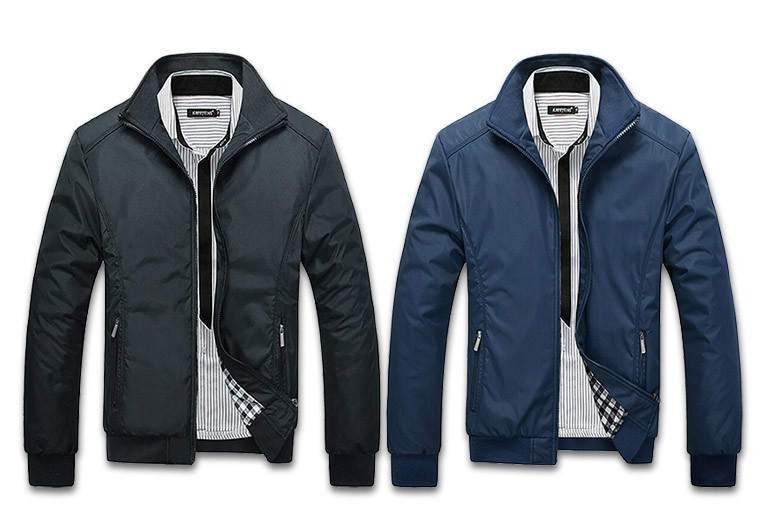 Men's Classic Harrington Jacket – 2 Colours & Sizes M-4XL! for £16.00