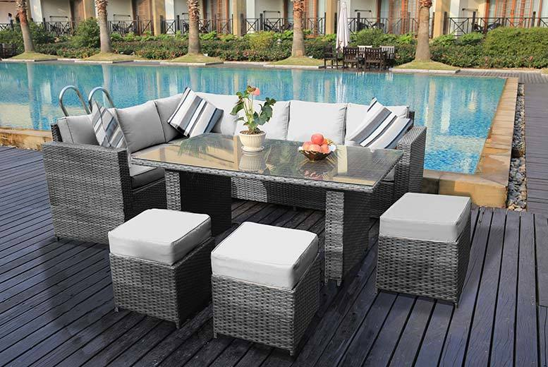 9-Seater XL Rattan Garden Dining Sofa Set - 3 Colours!