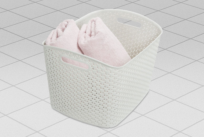 White Ribbon Curver Basket