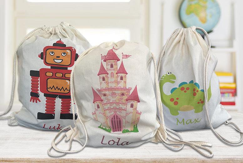 Kid's Personalised Drawstring or Tote Canvas Bag – 14 Designs! for £3.99