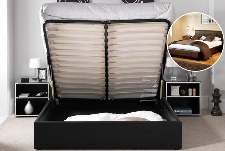 Faux Leather Ottoman Bed - 2 Sizes, 3 Colours & Mattress Options!