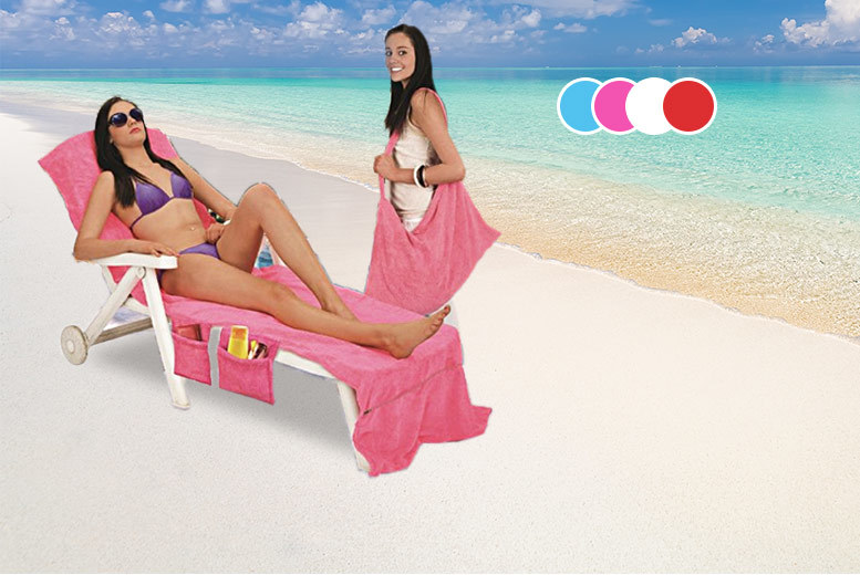 Lounger Bag Towel with Pockets – 4 Colours! for £8.99