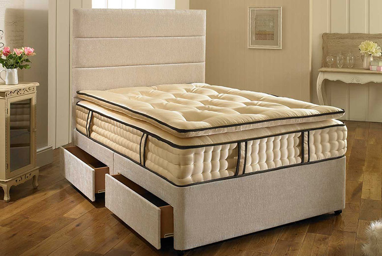 Superior 2000 Fabric Divan Bed With Mattress & Drawer Options – 5 Sizes! from £149.00