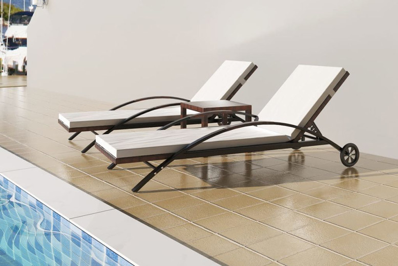 Rattan Outdoor Sunbeds & Matching Table