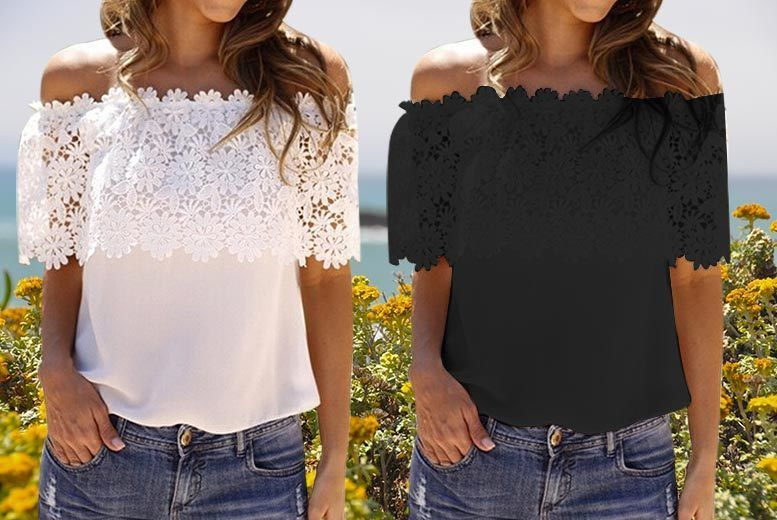 Lace Bardot Top – 2 Colours & UK Sizes 8-16! for £7.99