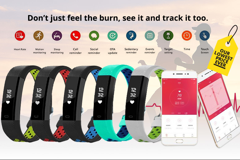 Beta V3 Fitness Tracker with Heart Rate Monitor – 5 Colours! for £17.00
