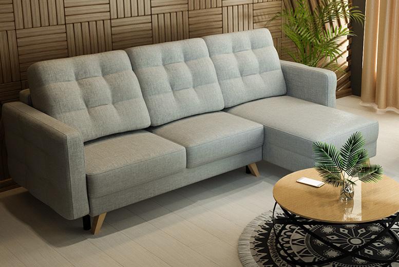 Grey Velvet Corner Sofabed
