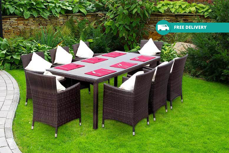 8-Seater Rattan Dining Set – Table, Chairs & Cushions from £349.00