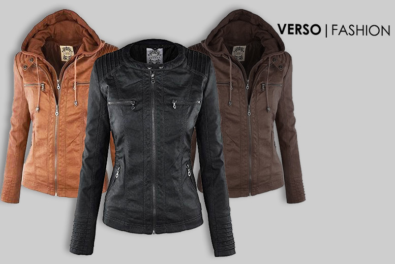 Faux Leather Hooded Jacket – 3 Colours & Sizes 6-14! for £24.99