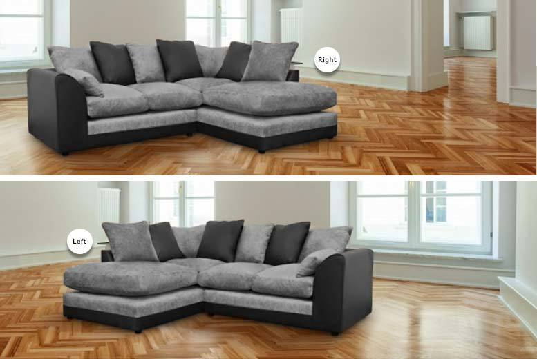 £329 instead of £699 for a Dylan corner sofa from Abakus Direct - choose from brown and beige or black and grey and save 53%