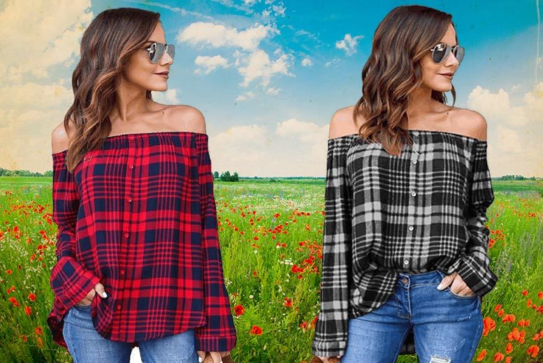 Checked Off-Shoulder Shirt – 2 Colours! for £9.00