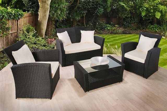 Garden Furniture Colours 4-piece rattan garden furniture set - 2 colours!
