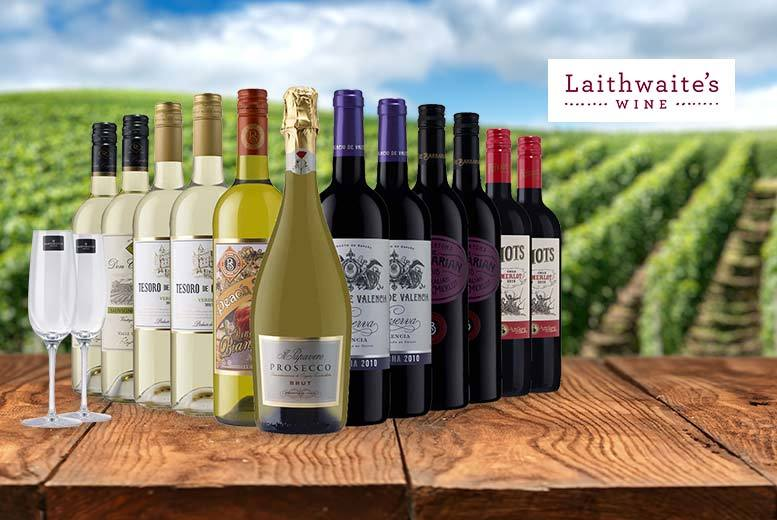 £39 (from Laithwaite's) for a 12-bottle selection of exclusive boutique wine including two Champagne flutes - choose from three varieties and save up to 67%