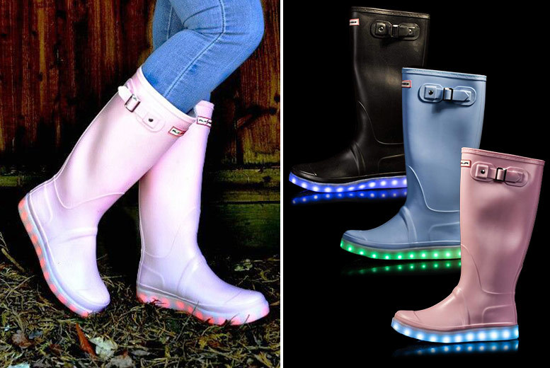 Women's Rechargeable LED Wellies – 3 Colours & Sizes 3-8! for £24.99