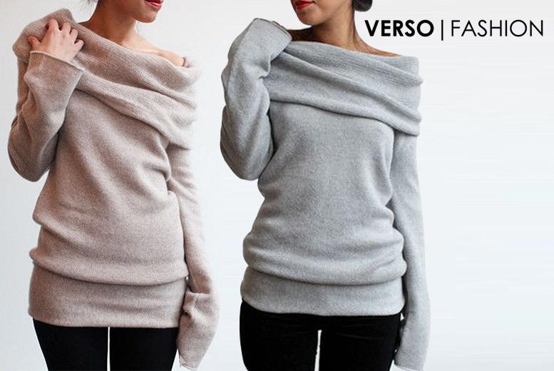 Long Sleeved Off Shoulder Soft Jumper – 2 Colours & UK Sizes 6-18! for £9.00