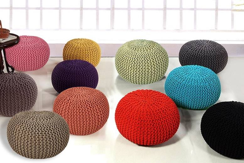 Round Knitted Footstool - 3 Sizes & 11 Colours!