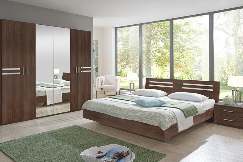4pc Susan Bedroom Furniture Set - Double Bed, Mirrored Wardrobe & 2 Bedside Tables!