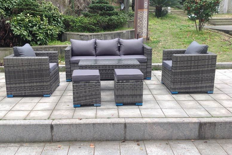 7-Seater Rattan Garden Furniture Set with Ottoman & Table - 3 Colours!