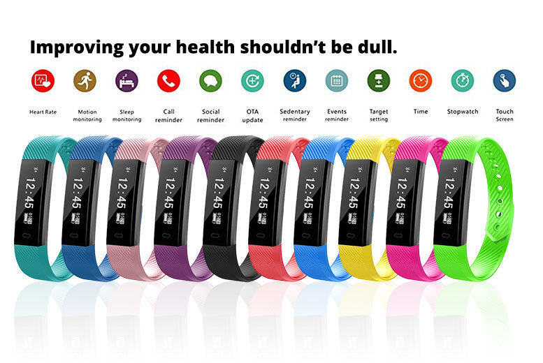 17-in-1 Waterproof Smart Fitness Tracker & HR Monitor – 10 Colours! for £19.00
