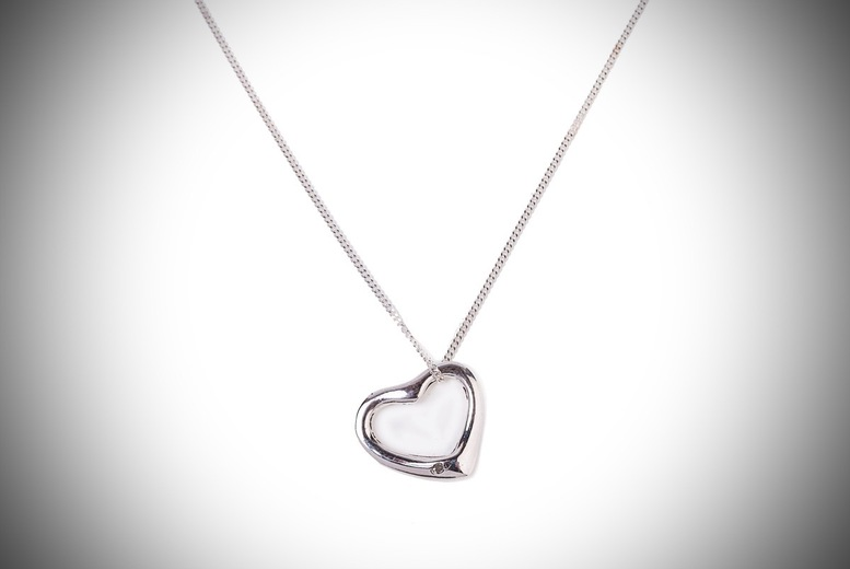 Floating Diamond Heart Pendant and Chain for £8.99