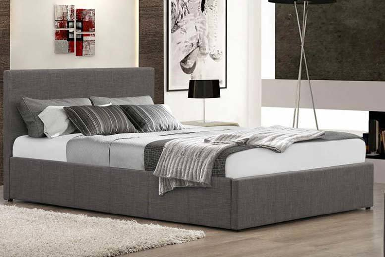 5pc Fabric Ottoman Storage Bed, Memory Mattress & Bedding Set