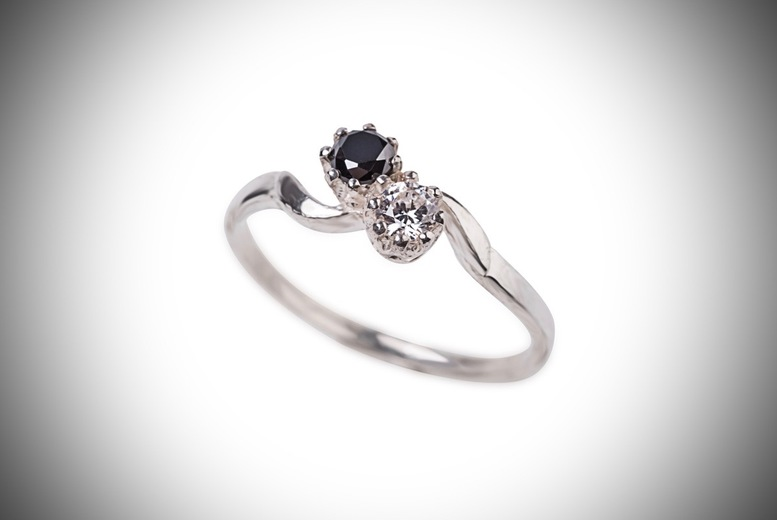 Created Black Diamond & Cubic Zirconia Twist Ring for £9.99