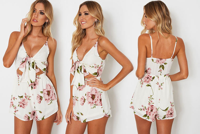 Tie-Front Floral Playsuit – UK Sizes 6-14! for £9.00