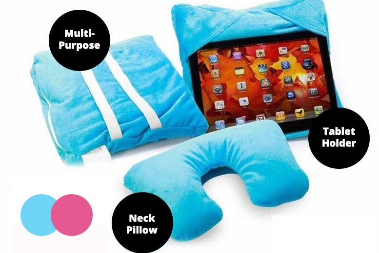 3-in-1 EZ Travel Pillow & Tablet Holder - 2 Colours!