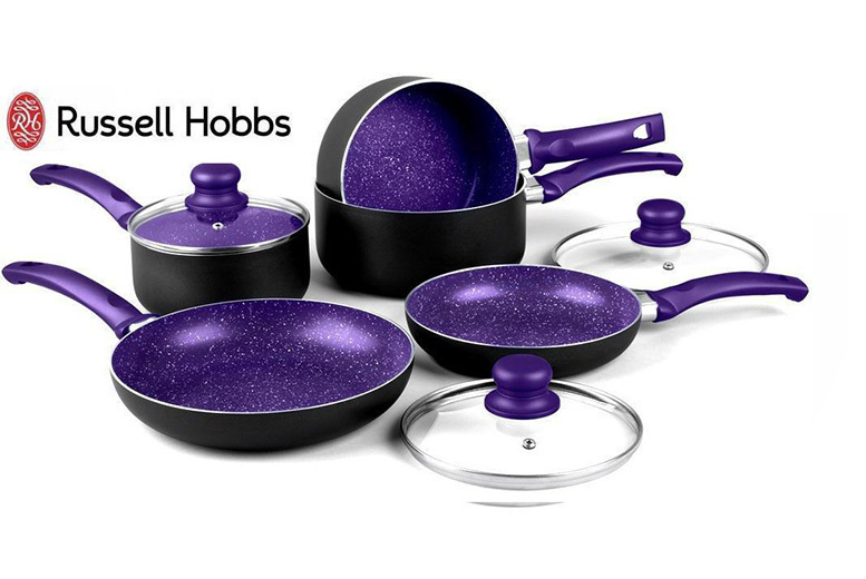 8pc Russell Hobbs Marble Effect Induction Pan Set – 3 Colours! from £39.99