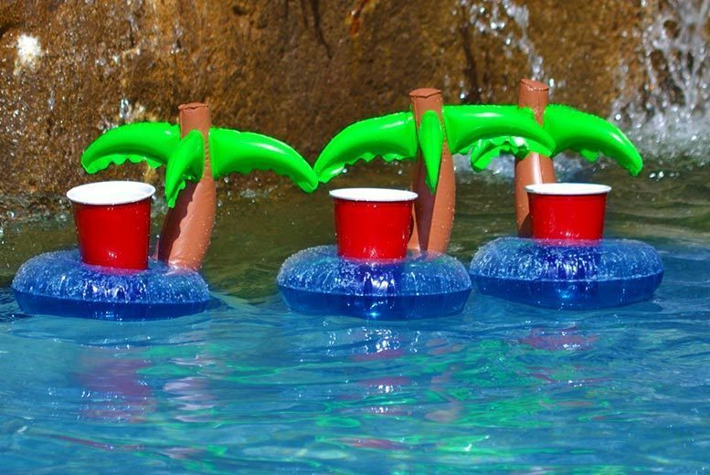 Set of 3 Inflatable Palm Tree Drink Holders