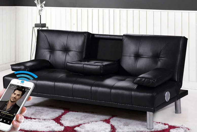 Manhattan Faux-Leather Sofa Bed with Bluetooth Option - 3 Colours!
