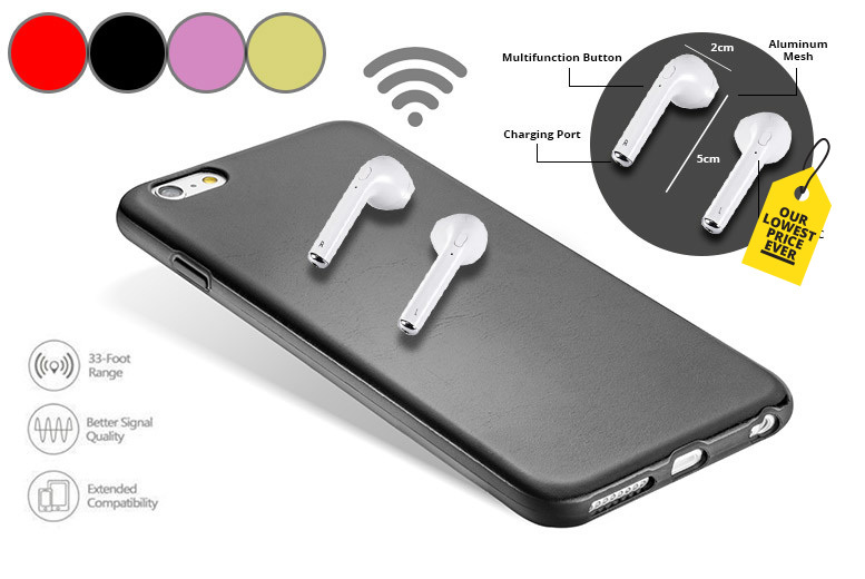 Apple-Compatible Wireless Bluetooth Earbuds – 5 Colours! from £17.00