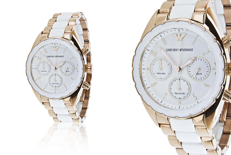 £110 instead of £394.01 (from Gray Kingdom) for a ladies' Emporio Armani AR5942 watch - treat your wrist and save 72%
