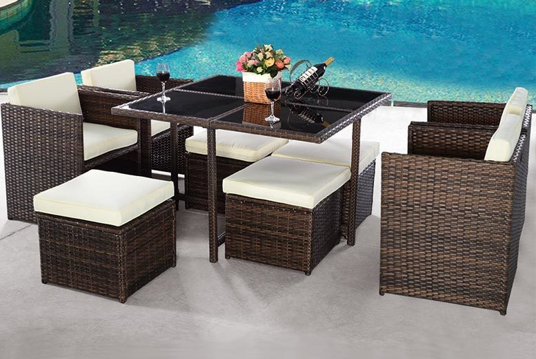 £299 instead of £970 (from Costway) for a nine-piece rattan dining cube set - save 69%