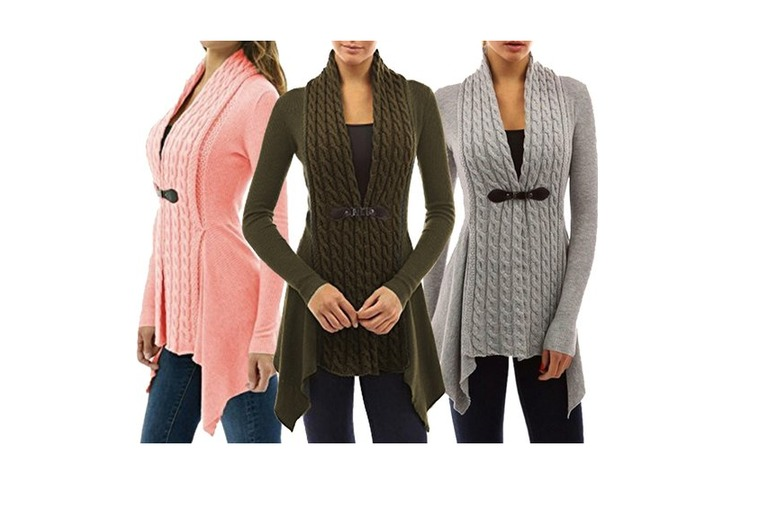 Asymmetric Cable-Knit Cardigan – 3 Colours & Sizes 8-18! for £11.00