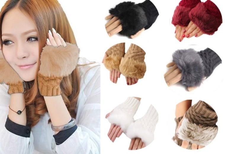 Faux-Fur Fingerless Gabbie Gloves for £3.99