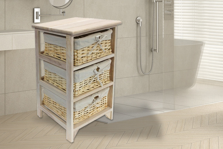 3-Tier Wicker Basket Wooden Storage Unit