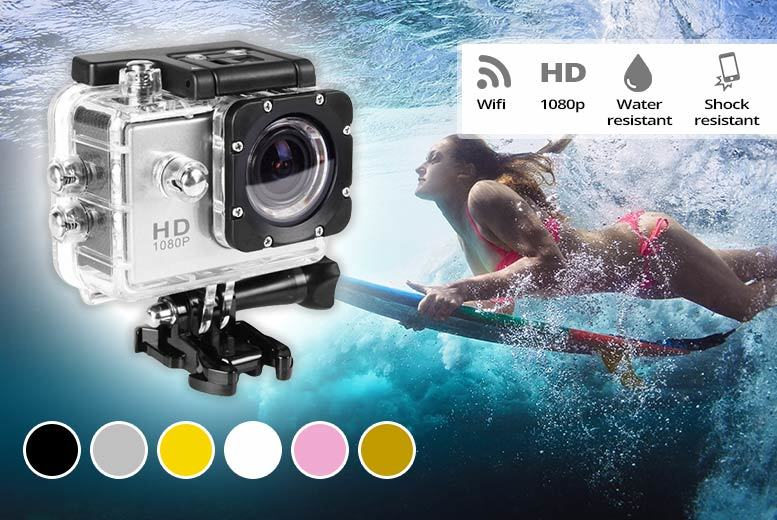 AdventurePro HD 1080p 12MP Action Camera & Mount Bundle & 16GB SD Card – 6 Colours! for £24.00