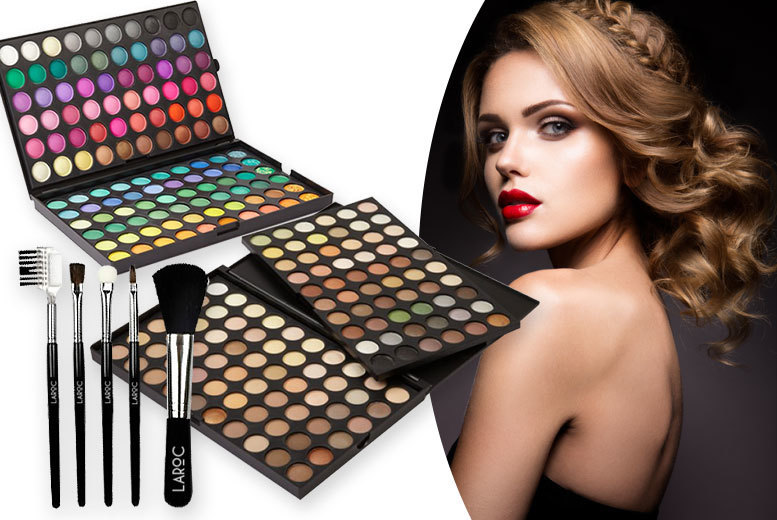 120-Colour Eyeshadow Palette & 5pc Brush Set - 2 Shades!
