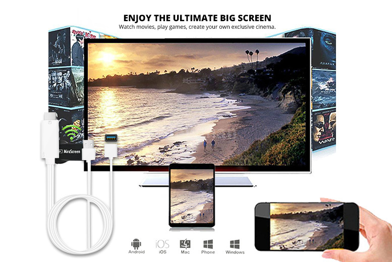 Mirascreen HD Mobile to TV HDMI Cable – iPhone & Android! for £12.99