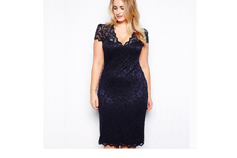 Navy Lace Cocktail Dress – UK Sizes 12-18! for £7.99