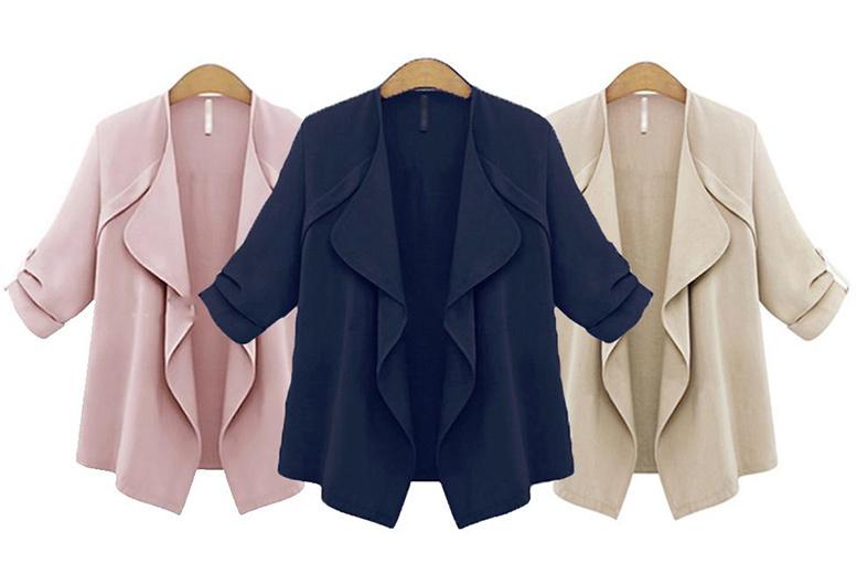 Women's Waterfall Blazer – 3 Colours & Sizes 12-22! for £11.00
