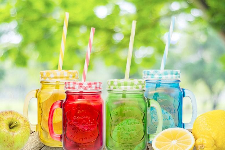 4pk Coloured Mason Jar Mug for £3.99