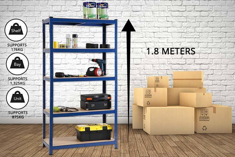 1.5m or 1.8m Heavy-Duty Steel & MDF Boltless 5-Tier Racking Shelf