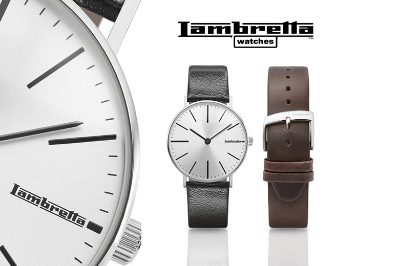 2-in-1 Lambretta Cesare 42 Silver Men's Watch - Black & Brown Straps!