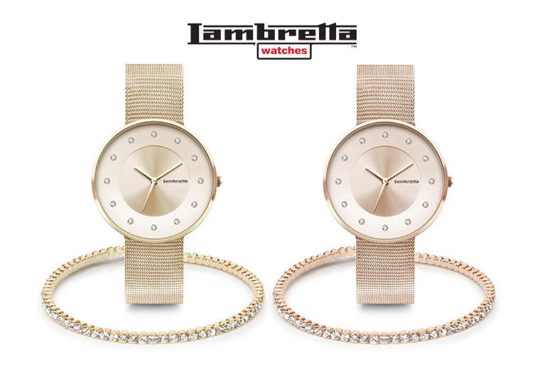 Lambretta Cielo Mesh Watch & Crystal Bangle - Gold or Rose Gold!